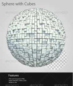 Sphere With Cubes  #GraphicRiver         Sphere with cubes realistic, fully transparent and high resolution, including PSD, Transparent PNG file     Created: 2July13 GraphicsFilesIncluded: PhotoshopPSD #TransparentPNG HighResolution: Yes Layered: No MinimumAdobeCSVersion: CS5 PixelDimensions: 2250x3000 Tags: 3d #3drender #cubes #proffesional #realistic #render #sphere