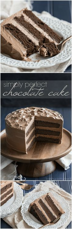 Simply Perfect Chocolate Cake: this is the BEST chocolate cake recipe out there…. Simply perfect chocolate cake: This is the BEST recipe for chocolate cake. So easy to prepare, moist and with tons of dark chocolate flavor! Perfect Chocolate Cake, Amazing Chocolate Cake Recipe, Delicious Chocolate, Cupcake Recipes, Cupcake Cakes, Cupcakes, Baking Recipes, Cake Cookies, Best Cake Recipes