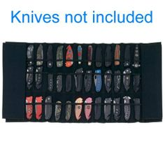"""Maxam Padded Nylon Knife Display Roll Case by Charlie. $23.99. PADDED KNIFE DISPLAY ROLL CASE. Features 2 straps for closure and handle. Holds 30 knives. Measures 33-1/2"""" x 16-1/2"""" open. Knives not included. BX."""