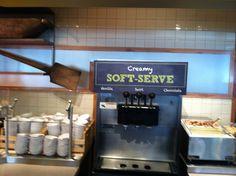 Souplantation chalkboard style label on dessert dispenser