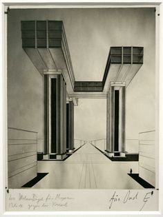 El Lissitzky, Wolkenbügel (1924). Alternate view, in front and underneath. Für [J.J.P.] Oud. https://www.facebook.com/photo.php?fbid=802399543106996&set=a.398132436867044.110837.284482644898691&type=1&theater