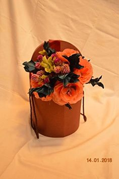 Anmalip-Handmade] Bouquet of Natural Immortal Flowers and Flowers Made and Hand-Painted from Textile (Orange) Home Office Furniture Sets, Handmade Decorations, Planter Pots, Austria, Textiles, Hand Painted, Corsages, Orange, Rose