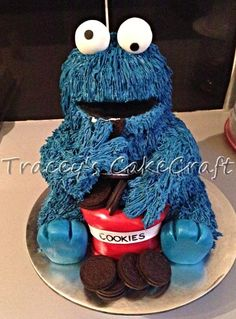 Cookie Monster loves oreos! Sculpted buttercream cake with oreo filling.
