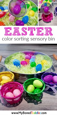 easy easter egg scooping activity for toddlers - a fun toddler activity for toddlers and preschoolers - an easy Easter sensory bin idea Easter Activities For Toddlers, Sorting Activities, Easter Crafts For Kids, Sensory Activities, Easter Ideas, Easter Games, Motor Activities, Easy Toddler Crafts, Easy Crafts