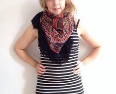 Beautiful 70s gypsy scarf wool fringing. by superqueenieretro, $32.00