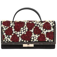VALENTINO Heart & Flower Embellished Suede Clutch featuring polyvore, fashion, bags, handbags, clutches, suede leather handbags, suede purse, beaded handbag, valentino purses and valentino handbags