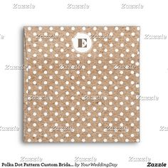 Polka Dot Pattern Design with Kraft paper effect background personalized Bridal Shower | Wedding Envelopes with Custom Monogram. Matching Wedding Invitations, Bridal Shower Invitations, Save the Date Cards, Wedding Postage Stamps, Bridesmaid To Be Request Cards, Thank You Cards and other Wedding Stationery and Wedding Gift Products available in the Floral Design Category of the yourweddingday store at zazzle.com