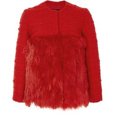 Giambattista Valli Red Wool Cashmere Tweed Jacket with Fur Bottom ($2,800) ❤ liked on Polyvore featuring outerwear, jackets, red fur jacket, wool jacket, woolen jacket, tweed jacket and fur jacket