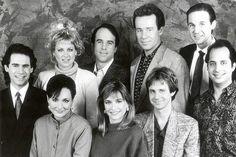 The SNL crew in the late '80s, including Dana Carvey, Phil Hartman, Jan Hooks and Jon Lovitz (far right)