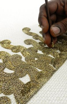 The hands that embroider. Toiling away at such delicate work. Pearl Embroidery, Tambour Embroidery, Couture Embroidery, Embroidery Fashion, Beaded Embroidery, Embroidery Stitches, Embroidery Patterns, Crazy Quilting, Tambour Beading