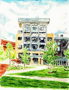 Artist Adron: Watercolor Painting of Howard College Columbia MD Rouse Student Services Hall http://artistadron.blogspot.com/2015/08/watercolor-painting-of-howard-college.html