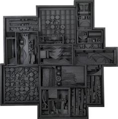 Artwork by Louise Nevelson, Expanding Reflection Zag I, Made of wood, painted black Louise Nevelson, Sculpture Lessons, Sculpture Projects, Abstract Sculpture, Sculpture Art, Mural Art, Wall Art, Classroom Art Projects, Found Art