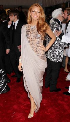 Blake Lively - Met Ball 2011 Best Dressed list wearing jewel-encrusted bodice with sari-like draping by Chanel