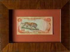 This beautiful tiger banknote hails from the former South Vietnam. It was issued in 1972 and is uncirculated. In this frame, we played up its warmer colors.