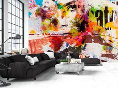 Fototapeta z twarzą w stylu graffiti. Kolorowy street art w Twoim mieszkaniu. Dodaj swojej ścianie energii dzięki designerskiemu wzorowi! ;)