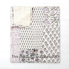 Kantha Quilt Block Print Quilt Patchwork Quilt por CraftAuraHome, $65,00