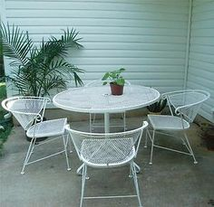 Vtg Wrought Iron Patio Set Table 4 Chairs Metal Eames Mid Century Sy Roomy Ebay