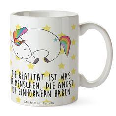 Tasse Einhorn Nacht aus Keramik  Weiß - Das Original von Mr. & Mrs. Panda.  Eine wunderschöne Keramiktasse aus dem Hause Mr. & Mrs. Panda, liebevoll verziert mit handentworfenen Sprüchen, Motiven und Zeichnungen. Unsere Tassen sind immer ein besonders liebevolles und einzigartiges Geschenk. Jede Tasse wird von Mrs. Panda entworfen und in liebevoller Arbeit in unserer Manufaktur in Norddeutschland gefertigt.    Über unser Motiv Einhorn Nacht  Ein wunderschönes Einhorn aus der Mr. & Mrs. Panda…