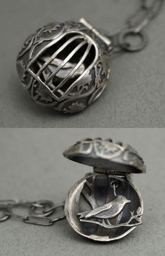 "Pendant | Rebecca Fargher.   ""Bird in a cage"".  Oxidized sterling silver:"