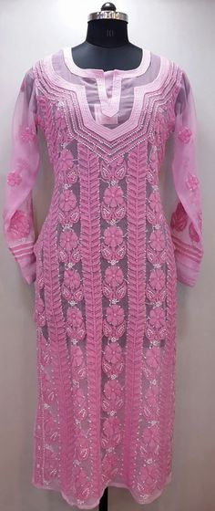 Lucknow Chikan Online Kurti Pink Faux Georgette $46