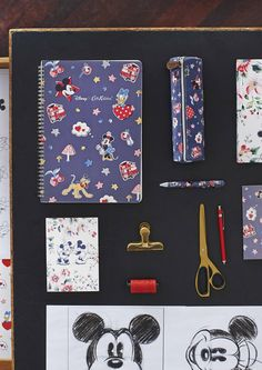 Mickey and Minnie Little Patches A4 Notepad, Chunky Pen, Tube Pencil Case and Greeting Card. #DisneyXCathKidston
