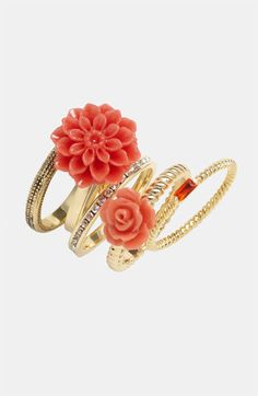Ariella Collection Double Floral Stack Rings (Set of 5) (Nordstrom Exclusive) | Nordstrom