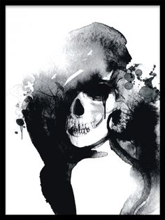Stylish black and white poster with a skull / woman who is fashion forward. Poster with a skull. We have more posters with skulls. Black and white frames are available for sale online. Black And White Frames, Black And White Posters, Art Videos For Kids, Watercolor Art Diy, Poster Vintage, Photoshop, Modern Art Prints, Beauty Art, Portrait Art