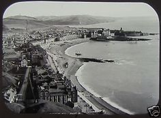 JV-VICTORIAN-Glass-Magic-Lantern-Slide-ABERYSTWYTH-amp-HARBOUR-C1890-WALES-PHOTO