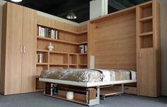 Hotel Use Space Saving Folding Wall Bed Modern With Bookshelf And Office Table