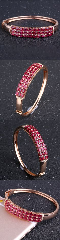 Robira Luxury Design Natural Pigeon blood Ruby Women Bangle Bracelets Cuff 18K Rose Gold Color Top Quality Mother's Day Gift