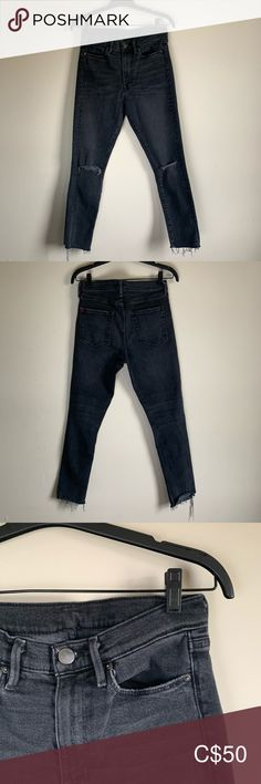 UO BDG Crop High Rise Skinny Jean Selling a pair of BDG jeans from Urban Outfitters in black -Ripped at the knees -High Rise -Skinny Leg Fit -Great Condition BDG Jeans Ankle & Cropped Skinny Legs, Urban Outfitters, Pairs, Ankle, Best Deals, Closet, Things To Sell, Black, Armoire