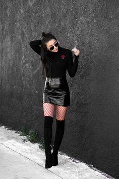 skirt,sunglasses,tumblr,mini skirt,black skirt,black leather skirt,leather skirt,vinyl,vinyl skirt,boots,black boots,over the knee boots,thigh high boots,thigh highs,thigh-high boots,net tights,tights,fishnet tights,top,black top