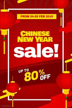 Chinese New Year Sale Discount Promotion Poster Flyer Chinese New Year Poster, Chinese New Year Design, Chinese New Year 2020, Chineese New Year, Sale Flyer, Beautiful Posters, New Years Sales, New Year Celebration, Sale Poster