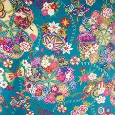 Tissu Japonais Kururi Turquoise | Tissus japonais à la coupe | Linge de maison | Pivoine et Tapioca