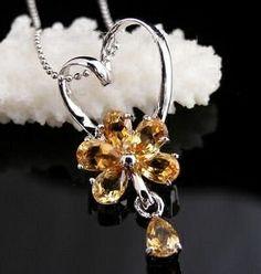 6*4mm*6 Citrine Natural Gem Stone 925 Sterling Silver Gemstone Diamond Pendant Necklaces 065: Sunnyshopday: Jewelry