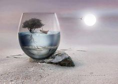 This is a neat artistic photo montage where they combined photos of a desert, a glass, and a sort of oasis together to represent a desert oasis in a glass. They put the photos together seamlessly and the vivid colors in the oasis really work in contrast to the dull desert colors.