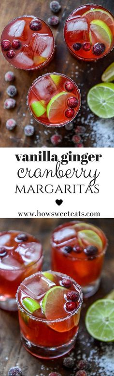 Cranberry Vanilla Ginger Margaritas with Sugared Cranberries Christmas Drinks, Holiday Drinks, Summer Drinks, Cocktail Desserts, Christmas Entertaining, Fancy Drinks, Holiday Meals, Cocktail Drinks, Best Thanksgiving Recipes