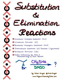 Substitution and Elimination Reactions — Organic Chemistry Tutor Organic Chemistry Textbook, Organic Chemistry Reactions, Study Chemistry, Chemistry Worksheets, Chemistry Classroom, Chemistry Notes, Teaching Chemistry, Chemistry Lessons, Medical Laboratory Science