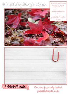Here's a free printable Leaves writing prompt sheet for your children, featuring original Printables4Parents photography.