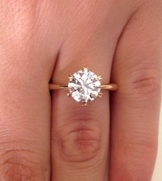 perfect! Thin band 18K yellow gold 2 00 Ct Round Cut Diamond Solitaire 6 prong setting Engagement Ring | eBay: