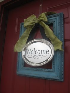 wreath alternative front door decor--frame welcome sign from blue cricket design (do chalkboard paint where the welcome is to change out the message) Front Door Decor, Wreaths For Front Door, Door Wreaths, Front Porch, Front Doors, Porch Area, Frame Wreath, Diy Wreath, Wreath Crafts