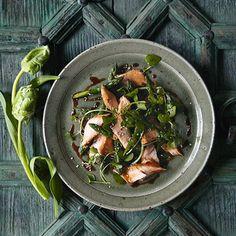 Teriyaki salmon salad with watercress and asparagus