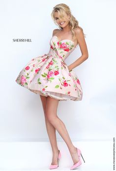 Sherri Hill 50116 has pockets giving you something different to model with as opposed to the traditional high-low for fun fashion. Hoco Dresses, Dance Dresses, Homecoming Dresses, Sexy Dresses, Dress Outfits, Evening Dresses, Dress Up, Formal Dresses, Rose Dress