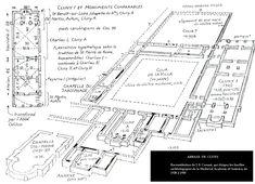 Reconstitution hypothétique de Cluny I par J.K. Conant : 910-927 (sous Bernon et Odon). Eglise de plan basilical simple précédé d'un portique (?) et de deux salles (narthex ou avant-nef).