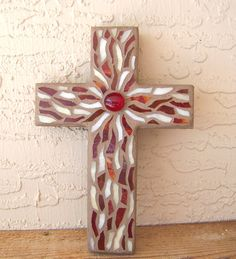 This Stained Glass Mosaic Wall Cross will make a lovely handmade gift for someone special! This Mosaic Cross is made on a hand cut piece of pine