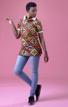 Stand out this season, and celebrate your culture with our Beckie Women's Polo in White Collar. This shirt can be worn professional and casually depending on the styling. This polo offers the wearer comfort and versatility, guaranteed to be your new go-to. Printed Polo Shirts, White Collar, African Dress, African Fashion, Culture, Celebrities, Unique, Skirts, Shopping