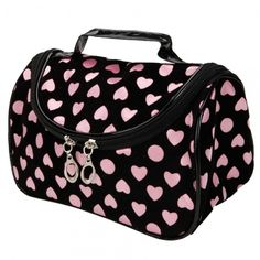 'Pink and black circles and hearts makeup bag ' is going up for auction at  8pm Wed, Dec 19 with a starting bid of $7.