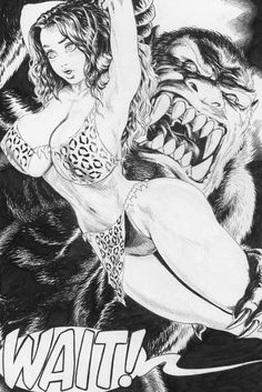 Budd Root Cavewoman Inside Front Cover Pen & Ink Comic Art