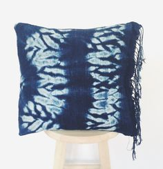 Authentic Vintage African Indigo Mudcloth Pillow by CacoandKai