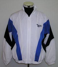 Reebok Men's Vintage White Blue Black Full Zip Track Training Jacket Size Large #Reebok #Jacket